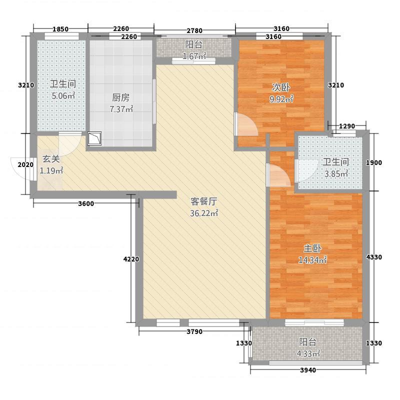 惠康新地117.60㎡B3户型2室2厅2卫1厨