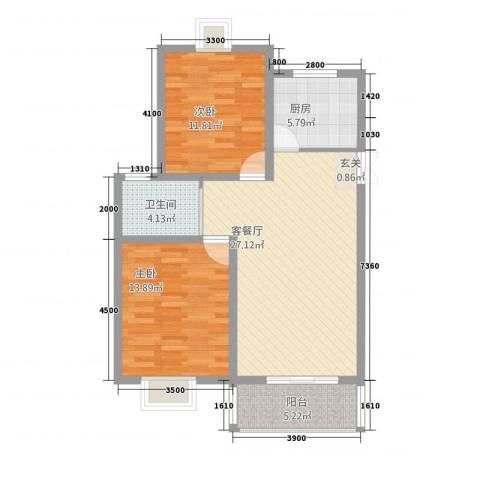 中南麒麟锦城2室1厅1卫1厨67.95㎡户型图