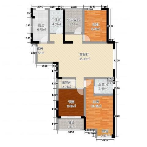 天成雅居3室1厅2卫1厨138.00㎡户型图
