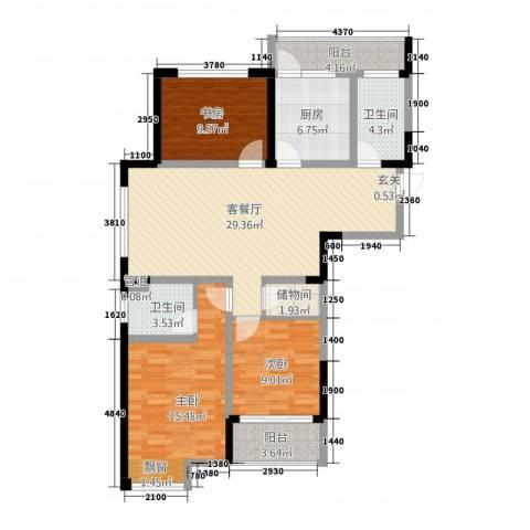 天成雅居3室1厅2卫1厨128.00㎡户型图