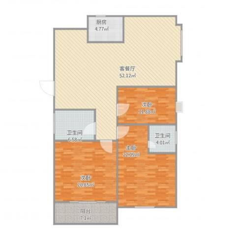 四季名门城市公寓3室1厅2卫1厨172.00㎡户型图