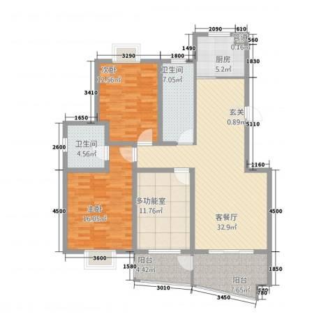 中南麒麟锦城2室1厅2卫1厨102.33㎡户型图