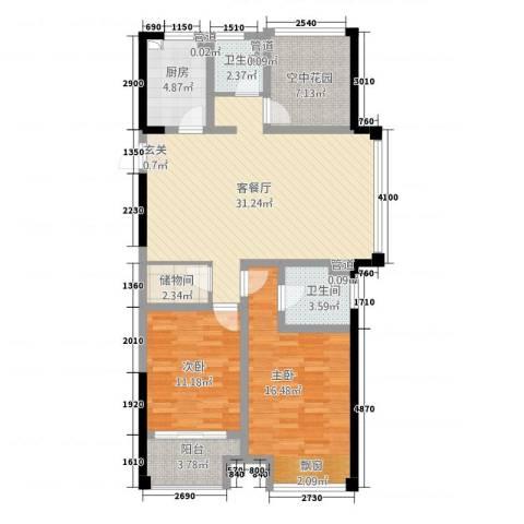 天成雅居2室1厅2卫1厨121.00㎡户型图