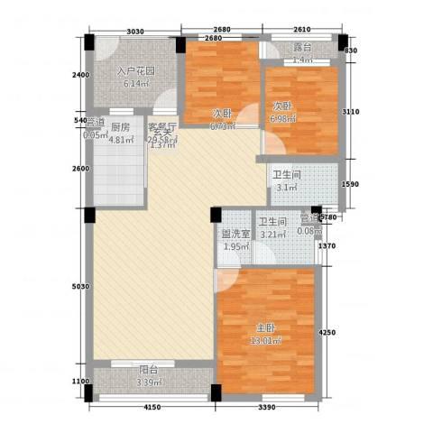 假日湾3室2厅2卫1厨115.00㎡户型图