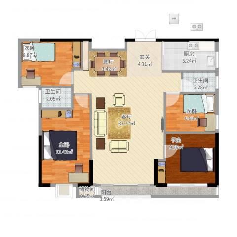 ECO城4室1厅2卫1厨124.00㎡户型图
