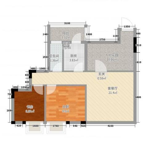 钜隆金溪蓝湾2室1厅1卫1厨83.00㎡户型图