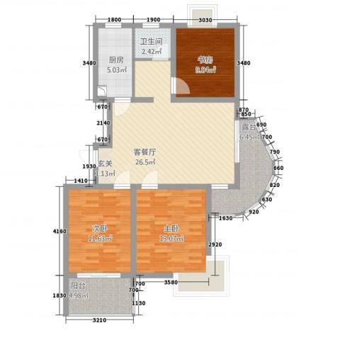 福星新城3室1厅1卫1厨114.00㎡户型图