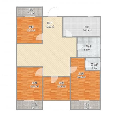 东海未名园4室1厅2卫1厨194.00㎡户型图