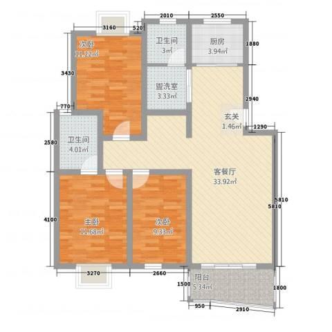 江城人家3室2厅2卫1厨124.00㎡户型图