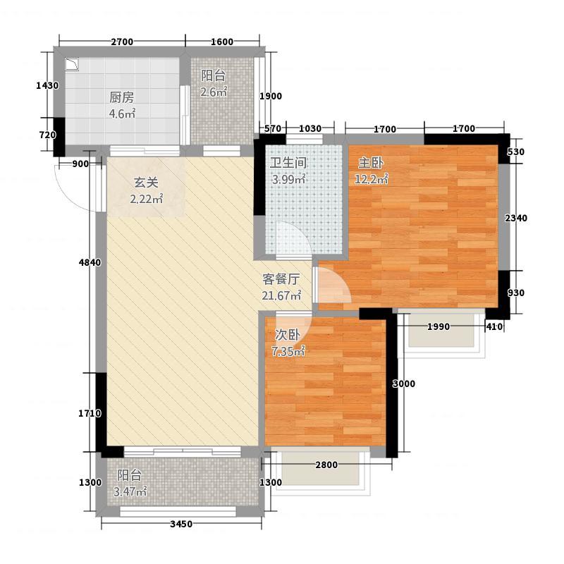 启新商住楼西户5户型2室1厅1卫1厨