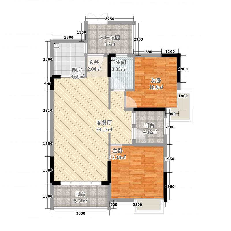 尚东雅轩83.00㎡2幢A203/06单元户型2室2厅1卫1厨
