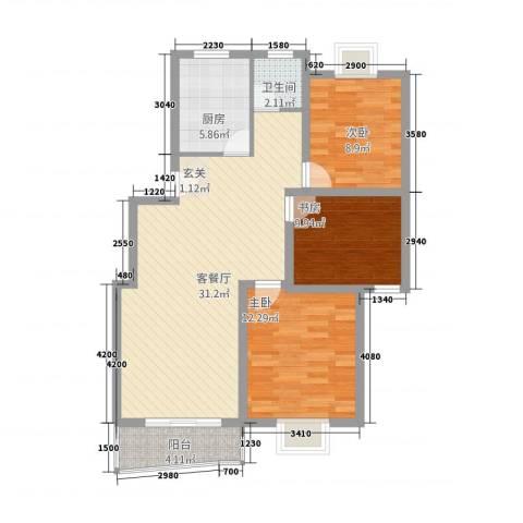 江城人家3室1厅1卫1厨104.00㎡户型图