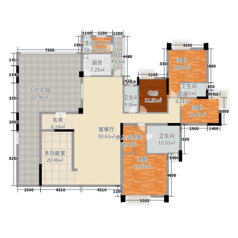 海畔嘉苑265.53㎡10栋偶数层B02户型5室2厅