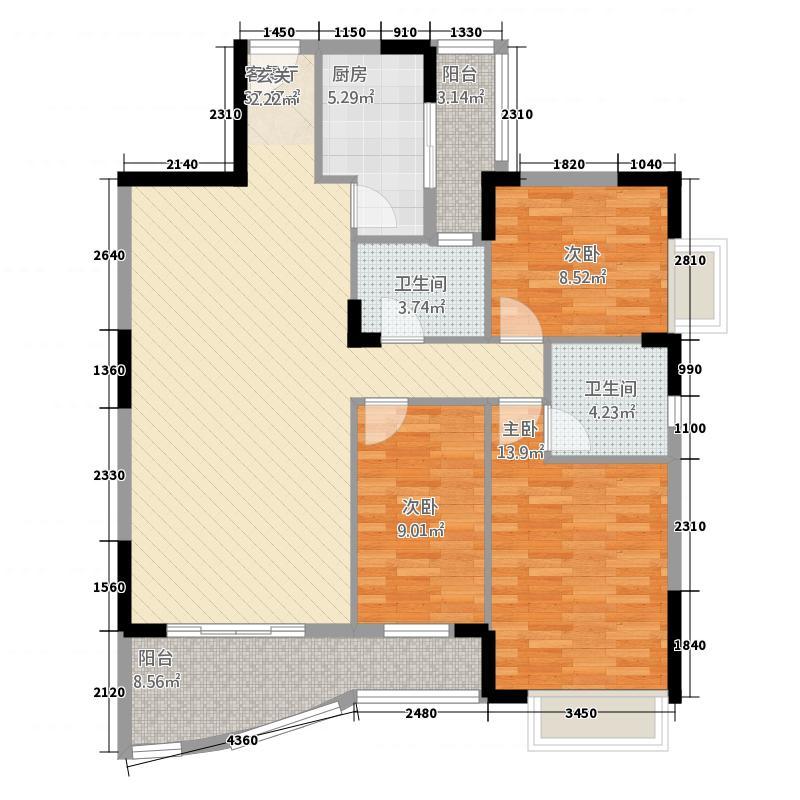 芳菲苑131.71㎡米兰阁02单位户型3室2厅2卫1厨