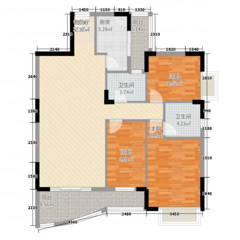 芳菲苑3室1厅2卫1厨132.00㎡户型图