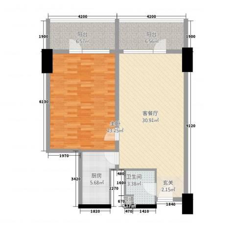 世纪之帆1室1厅1卫1厨108.00㎡户型图