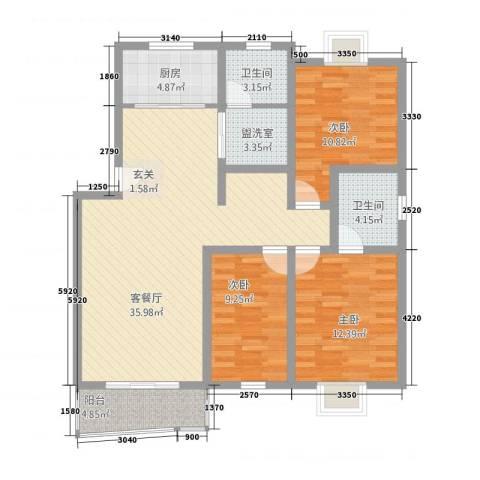 江城人家3室2厅2卫1厨128.00㎡户型图