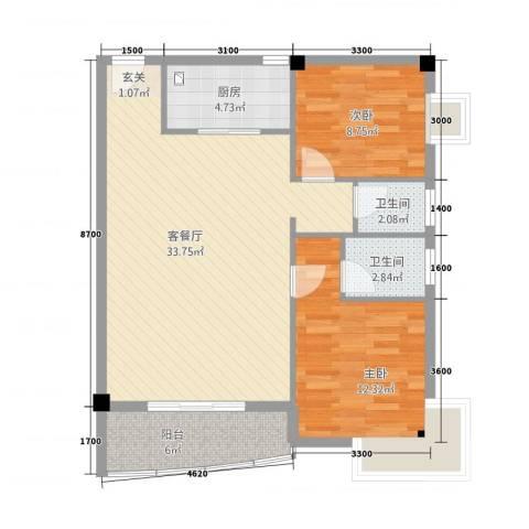 华清中心城三期2室1厅2卫1厨99.00㎡户型图