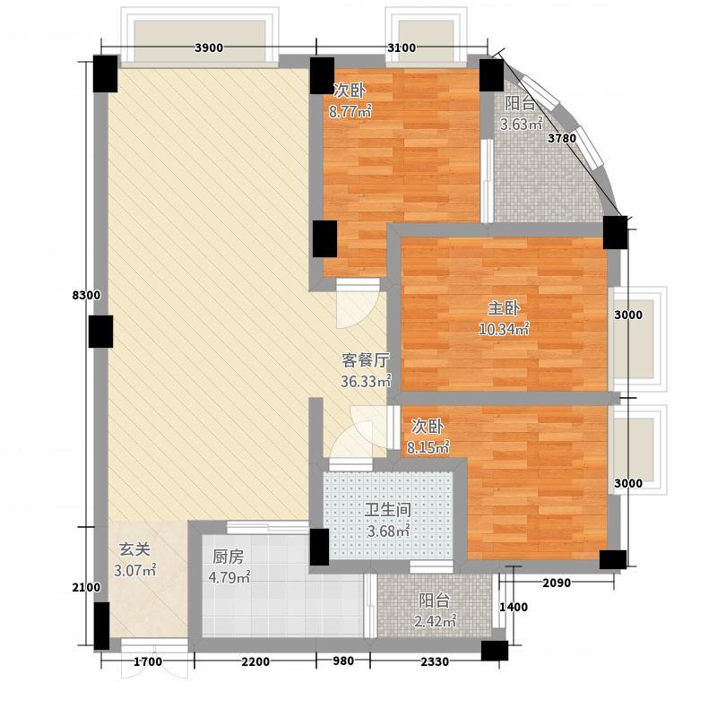 富德居户型3室2厅