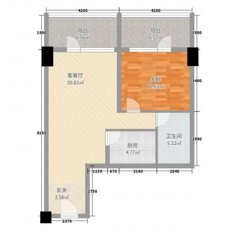 世纪之帆1室1厅1卫1厨95.00㎡户型图