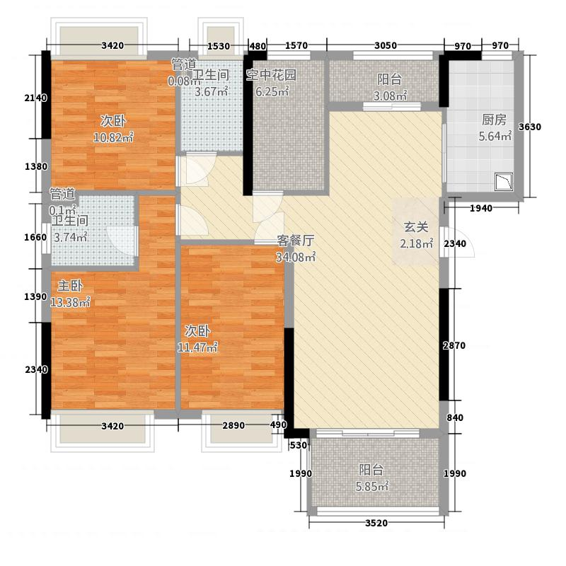 怡翠馨园12.65㎡嘉文苑4座03单元户型3室2厅2卫