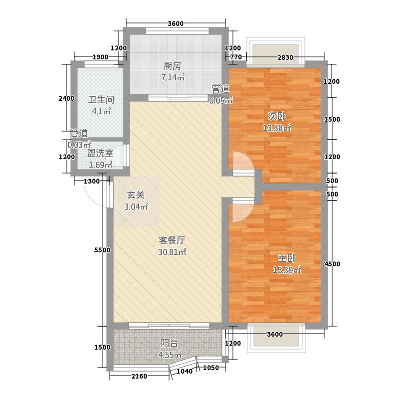香港花园(胶州)8.58㎡东户户型2室2厅