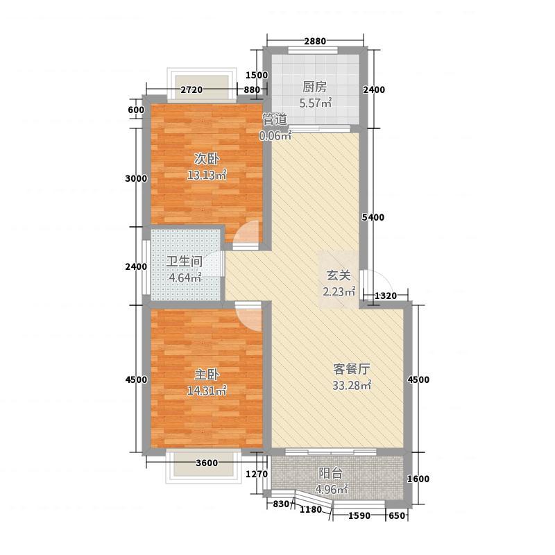 香港花园(胶州)6.80㎡西户户型2室2厅