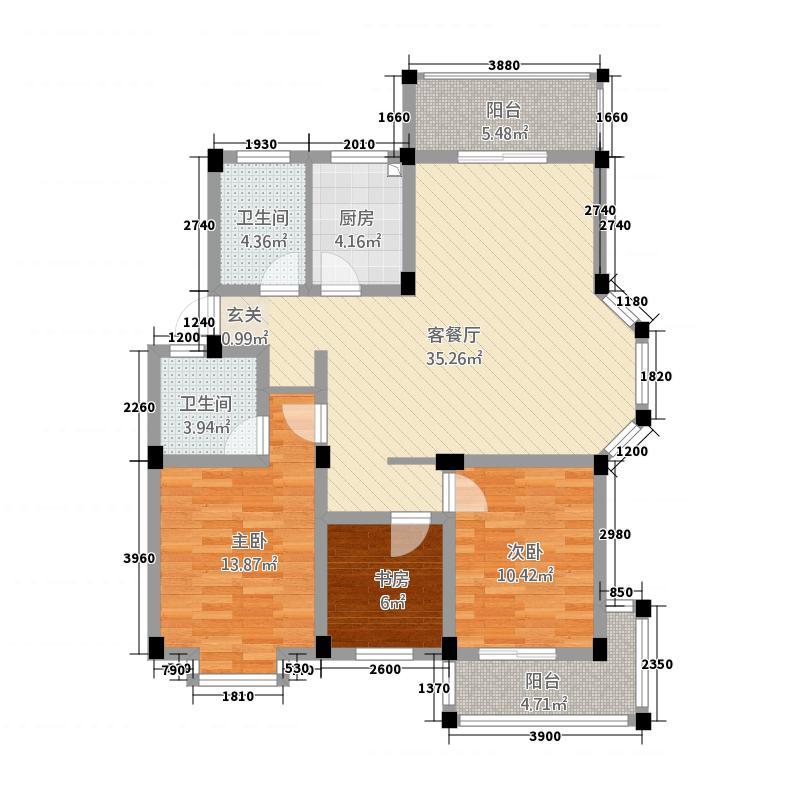 窑山花园129.34㎡户型3室2厅2卫1厨