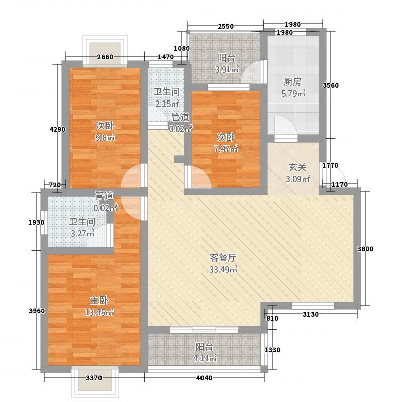 扶轮大厦122.00㎡户型3室