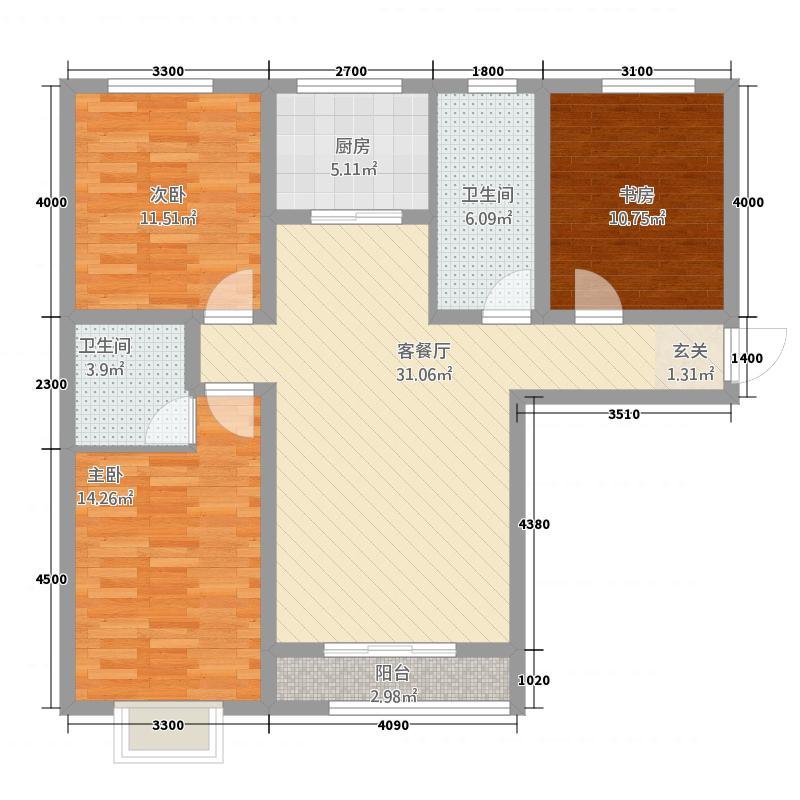 萨菲尔名邸户型3室