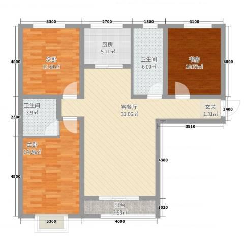 萨菲尔名邸3室1厅2卫1厨123.00㎡户型图