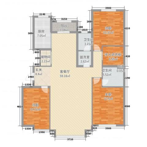 奥泰格林山水城3室2厅2卫1厨189.00㎡户型图