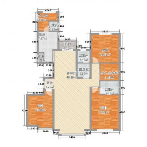 奥泰格林山水城3室2厅3卫1厨178.00㎡户型图