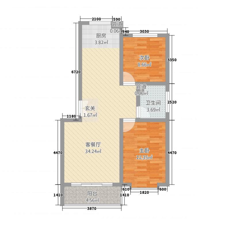 秀月苑户型2室2厅1卫1厨