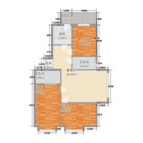 荣耀天地3室1厅2卫1厨131.00㎡户型图