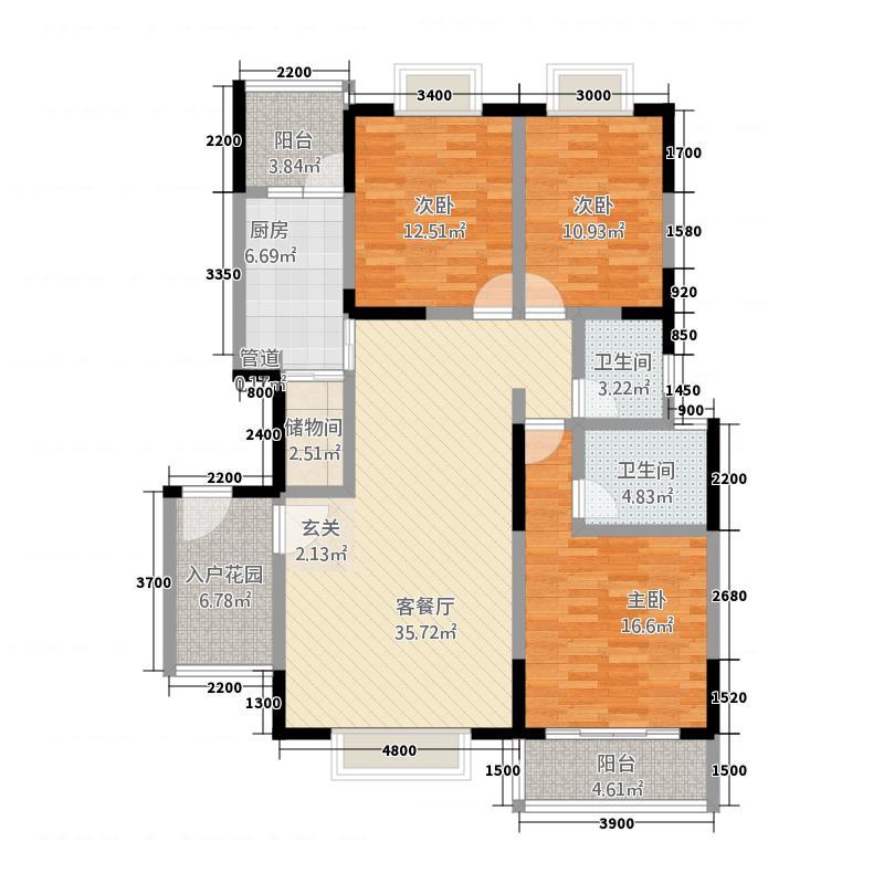 惠兰园132.00㎡户型3室