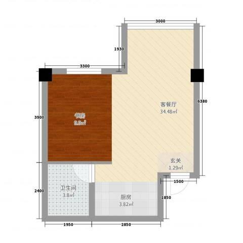 东大商巢1厅1卫0厨59.00㎡户型图