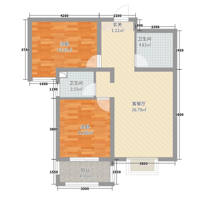 萨菲尔名邸户型2室
