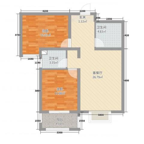 萨菲尔名邸2室1厅2卫0厨90.00㎡户型图