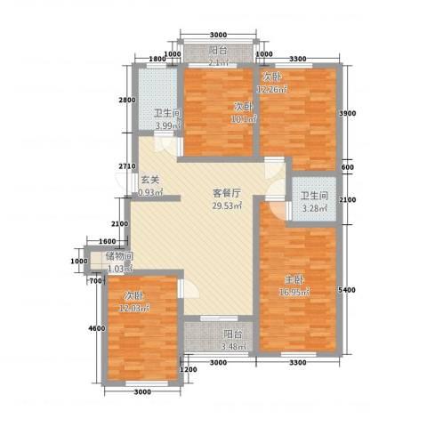 大通花园4室1厅2卫0厨110.40㎡户型图
