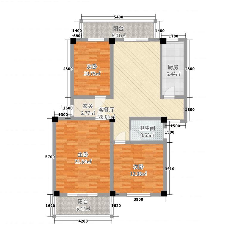 印湖山庄11.46㎡8#标准层303户型3室2厅2卫1厨