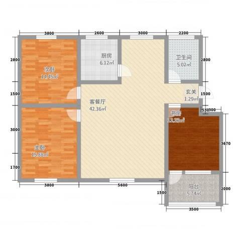 茗瑞华府3室1厅1卫1厨144.00㎡户型图