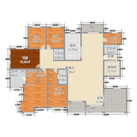 天徽商业广场5室1厅4卫1厨346.00㎡户型图