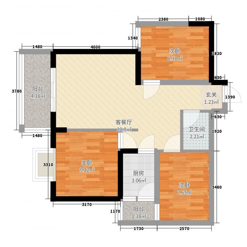 怡园86.00㎡小区户型3室