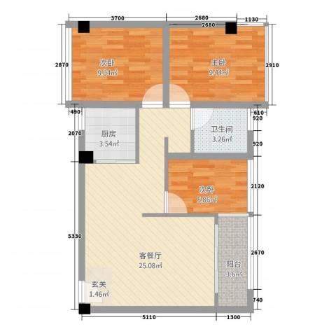 澳园3室1厅1卫1厨86.00㎡户型图