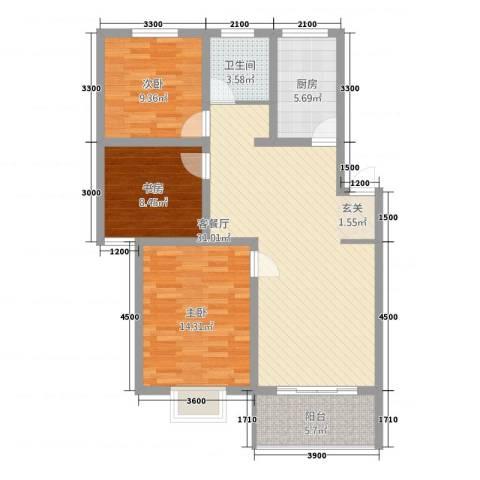 新景第3室1厅1卫1厨89.48㎡户型图