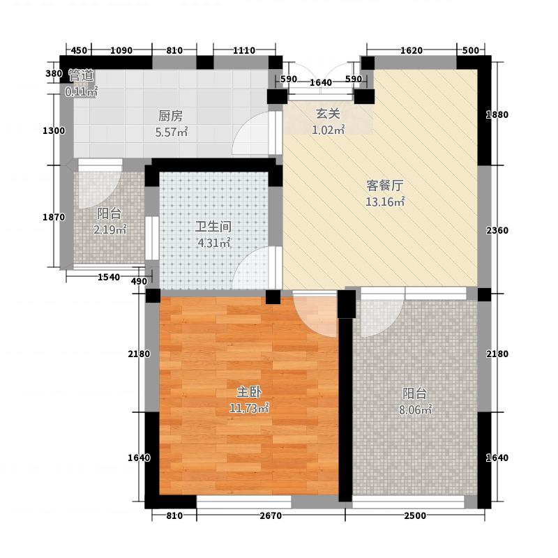 苏锦二村66.00㎡户型1室1厅1卫1厨