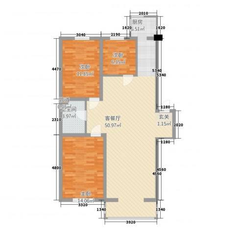 博隆金水湾家园3室1厅1卫0厨87.26㎡户型图