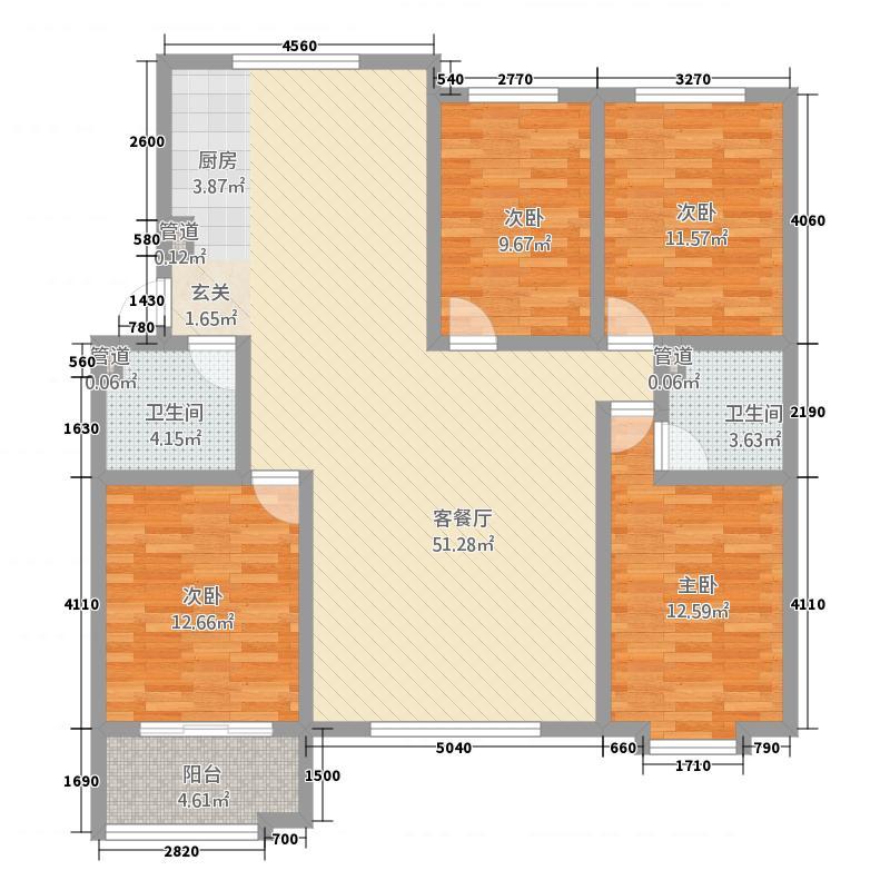 秀月苑157.00㎡户型4室2厅2卫1厨