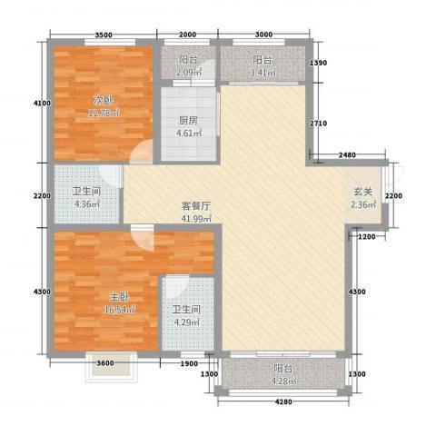 萨菲尔名邸2室1厅2卫1厨133.00㎡户型图
